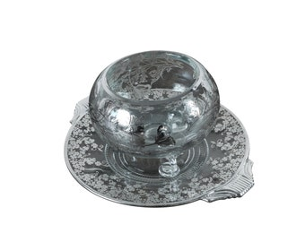 Vintage 1940s Glass Bowl & Dish With Stunning Floral Sterling Silver Overlay -SALE