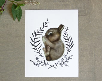 Sleeping Baby Bunny Print 8x10, Watercolor Woodland Nursery Print