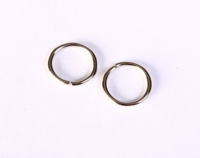 12mm silver tone jumpring - 12mm open jumpring - 12mm round jump ring - nickel free - lead free (1401) - Flat rate shipping