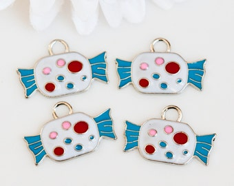 STORE CLOSING! ChrmE336 - Wrapped Candy Enamel Charms - 4 Pieces