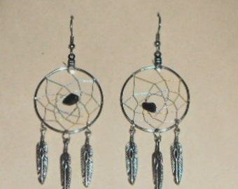 Handcrafted Black agate DreamCatcher Earrings