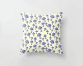 Mushroom Cushion Lilac Blue and Pale Yellow, Pillow Slip Cushion Cover, Wonderland Woodland Botanical