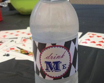 Alice's Tea Party Printable Drink Labels - Water Bottle - Drink Me - DIY Alice In Wonderland Printable Party