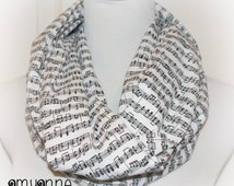 Adult Womens Cotton Sheet Music Note Notes Print in Black and White Infinity Scarf Piano Band Amy Anne