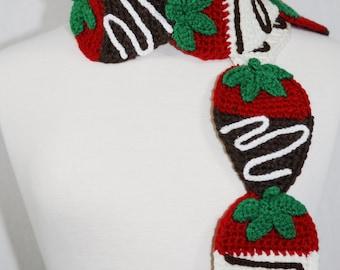 Chocolate Dipped Strawberries Scarf-Women Accessories-Neck Warmer-Kawaii-Crochet Strawberry-Crochet