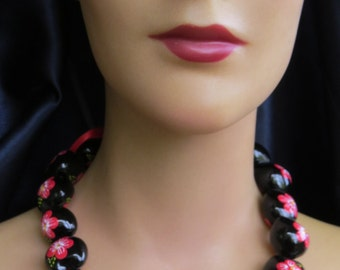 Vintage Chunky Funky Painted Floral Beads Red Black Handmade Large Bead Statement Necklace