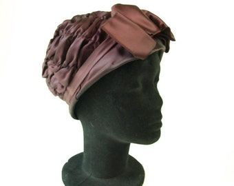 Vintage 30s ruched gathered cloche flapper womens hat