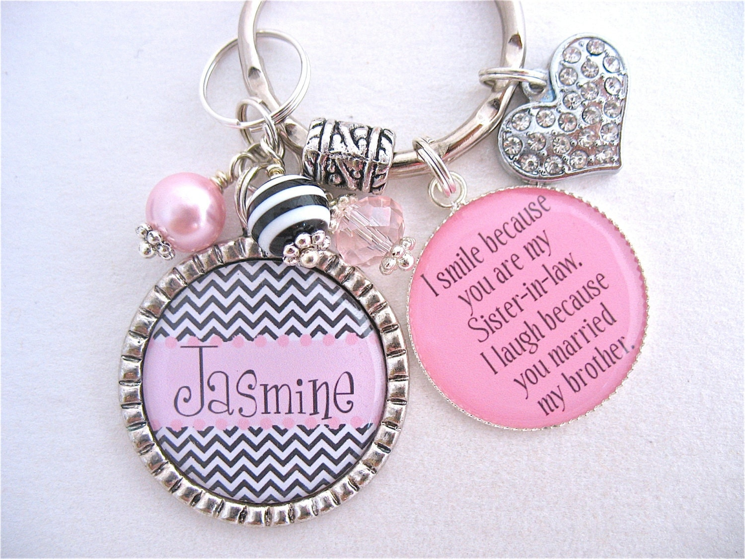 Wedding Gift For Sister In Law : PERSONALIZED BFF Keychain Sister in law Gift Pink Black