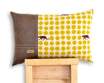 Panther 3 Panel Cushion Cover in Mustard. Echino Panther cotton & soft faux lamb leather panels.