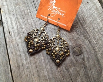 Macramé earrings Fleur de lis boho chic bohemian micro macrame jewelry by Creations Mariposa