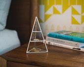 NEW Lyra Pyramid Display Box, small - glass pyramid - jewelry box - silver or copper - eco friendly