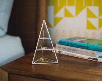 Lyra Pyramid Display Box, small - glass pyramid - jewelry box - silver or copper - eco friendly