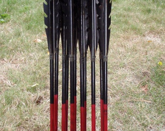 Razorback Arrows Made To Order, dozen wood archery arrows, traditional wood archery arrows