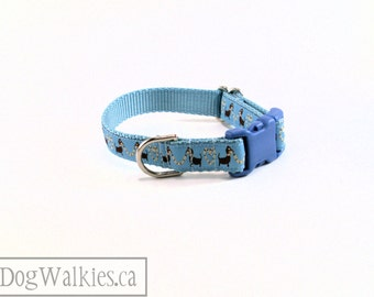 "Dachshund Love in Blue - Small Dog Collar - 3/4"" (19mm) Wide - Martingale or Quick Release Dog Collars - Choice of collar style and size"