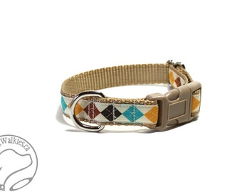 """Tan Argyle Dog Collar - 3/4"""" (19mm) Wide - Choice of collar style and size - Martingale Dog Collars or Quick Release Buckle"""