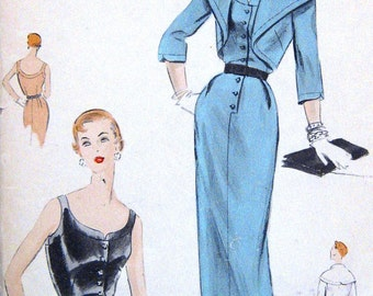Vintage 1950s Sexy Slim Cocktail Evening Dress Sewing Pattern Low Cut with Wide Collar Bolero Vogue Special Design S4420 Bust 30