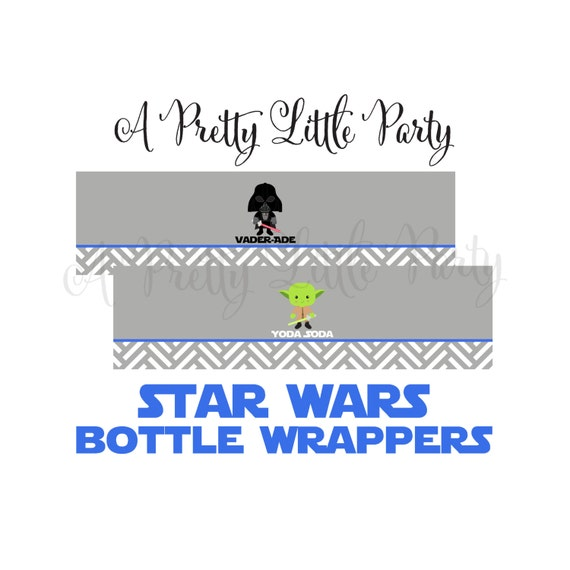 Star Wars Bottle Wrappers in blue - Digital files - Party Supplies - INSTANT DOWNLOAD