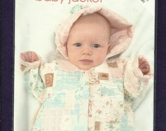 Jackie Clark Design 200 Shabby Chic Quilted Baby Jacket with Hood and Rolled Cuffs  Sizes Newborn to 4T UNCUT
