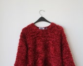 Red Loopy Fuzzy Request 90s Stretchy Sweater