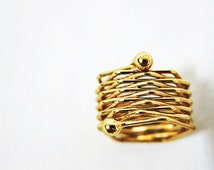 Size 6 Gold Wrap Ring, Hexagon Ring, Hex Ring, Unusual Ring, Cube Ring, Woven Ring, Men Ring, Women Ring, Beehive Ring, Unique Ring