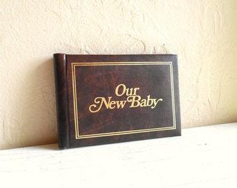 Vintage Faux Bois Mini Photo Album Our New Baby Brag Book Two Available