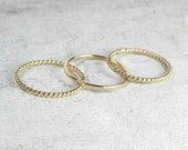 Set of Three Mixed Gold Skinny Stacking Rings