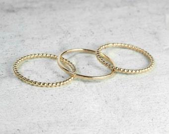 Set of Three Mixed Gold Skinny Stacking Rings