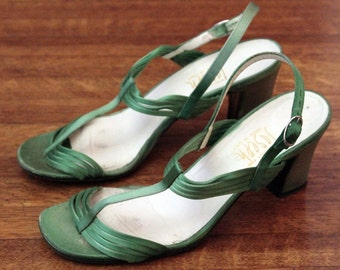 Vintage Green Satin Joseph T Strap Heels 7 1/2 M Made in Italy