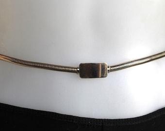 Vintage Gold Tone Snake Metal Skinny Belt with Rectangle Belt Buckle