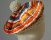 Child's Hat, Orange, Children's Beret, UK Seller, Knitted Baby Clothes, Wool Beret, 40's Beret,Tam,
