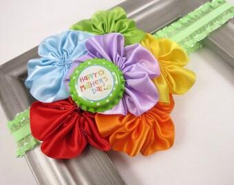 Mothers Day Headband - Rainbow Headband - Happy Mother's Day - Flower Headband - OTT Headband