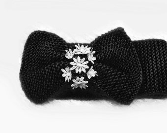 Knitted Bow Headband, Wide Bow Ear Warmer, Women's Fashion Accessory, Fall Headband, Best Seller, Knotted Bow Headband in Black