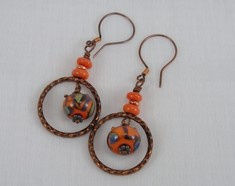 Hammered Hoops--Copper Hoop Earrings with Coral, Turquoise and Plum Lampwork Beads   369