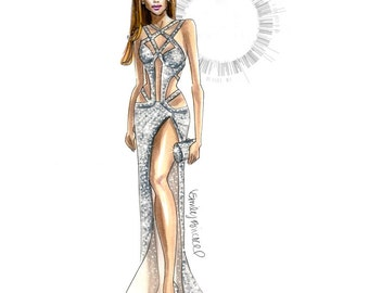 "Fashion Illustration print ""Shine"",  Fashion Illustration of JLo in Charbel Zoe Couture VMA crystal dress By Emily Brickel"