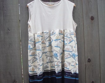 Nautical Baby Doll Dress/ Eco Dress/ Retro Frock Upcycled Medium Womens Dresses