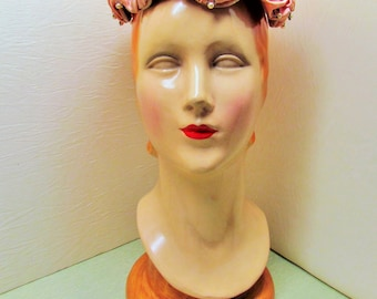 Vintage satin hat, 1950's light rose hat made from ruched satin and pearls