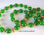 green crackle glass and copper spacer beaded necklace. handmade, gifts for women, ready to ship, gifts under 30