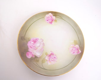 Vintage Silesia German Plate Pink Roses Hand Painted Porcelain R S Tillowitz Made in Germany