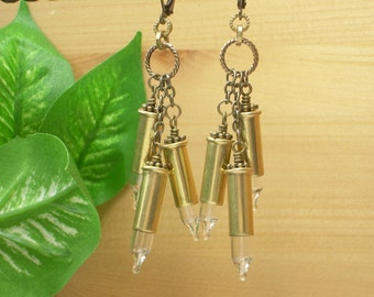Bullet Jewelry ~ 22 Caliber Brass Bullet Casing ~ Clear Christmas Light Bulbs