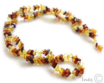Genuine Baltic Amber Adult Necklace. Square shape amber beads.