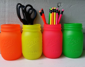 Dorm Deocr- Painted Ball Mason Jars- NEON pink, yellow, green and orange-Set of 4-Flower Vases, Rustic Wedding, Centerpieces