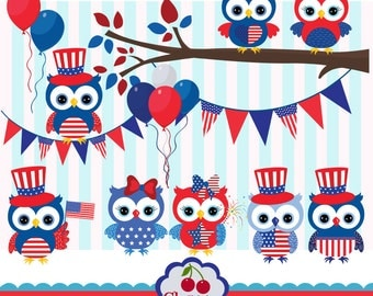 4th of July Cute Owls Digital Clip Art Set 02 -Patriotic Owls Clip Art-Personal and Commercial Use