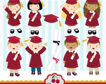Graduation_Boys and Girls digital clipart set -Red-Preschool, High School, College, Graduation-Personal and Commercial Use-