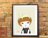 artprint,girl and cat, picture, print, wall art print,illustration, fine art prints, art posters, romantic Art, wall decor, pen drawing