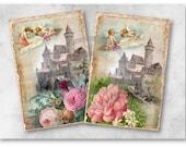 Digital Collage Sheet Download - Angels in Wonderland -  953  - Digital Paper - Instant Download Printables
