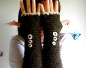 Handmade Brown Fingerless Gloves crochet made