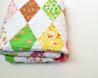Geometric Quilt, Wedding Quilt, Diamonds, Modern Lap Quilt, Spring, Modern Quilt