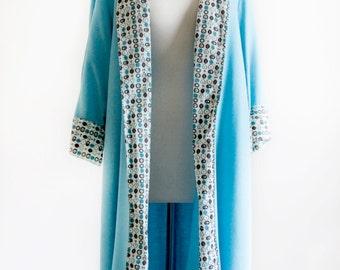 40s Linen Robe.  SM MED. // Novelty Print. Summer Loungewear - Bright Sky Blue. Vintage Unisex Lingerie