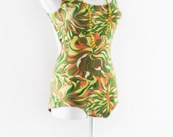 SAMOA Swimwear - 1960's Full Body Bathing suit. Size 34 - 36. . Vintage Swim Wear. Groovy Go-Go with Cut Outs, Peek a boo, Open Back,