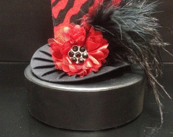 Funky Red and Zebra Mini Top Hat for Dress Up, Birthday, Tea Party or Photo Prop